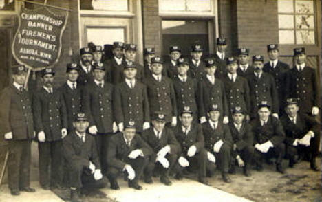 Keewatin Fire Department at Fireman's Tournament in Aurora, 1909