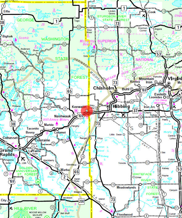 Minnesota State Highway Map of the Keewatin Minnesota area