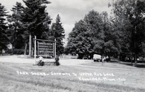 Park scene and Welcome sign, Kelliher Minnesota, 1940's?