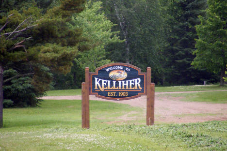 Welcome sign, Kelliher Minnesota, 2009