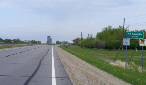 Entering Kennedy Minnesota from the south on US Highway 75, 2008