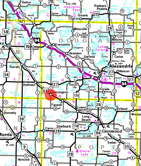 Minnesota State Highway Map of the Kensington Minnesota area