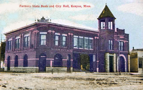 Farmers State Bank and City Hall, Kenyon Minnesota, 1910