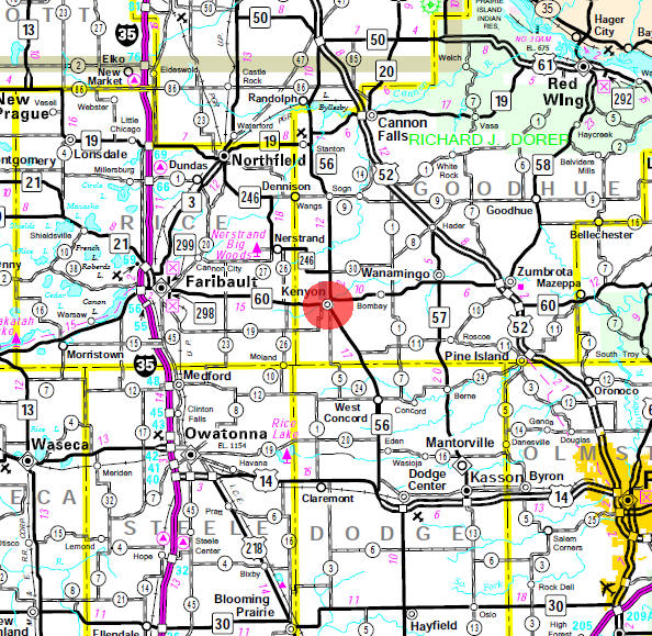 Minnesota State Highway Map of the Kenyon Minnesota area