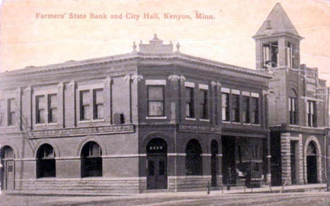 Farmer's State Bank and City Hall, Kenyon Minnesota, 1910's