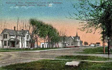 Presbyterian Church and Parsonage on Wyoming Avenue, Kerkhoven Minnesota, 1911