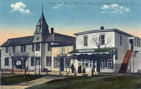 Merchants Hotel and Malingren Block, Kerkhoven Minnesota, 1910
