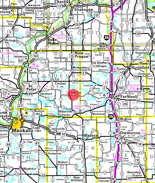 Minnesota State Highway Map of the Kilkenny Minnesota area