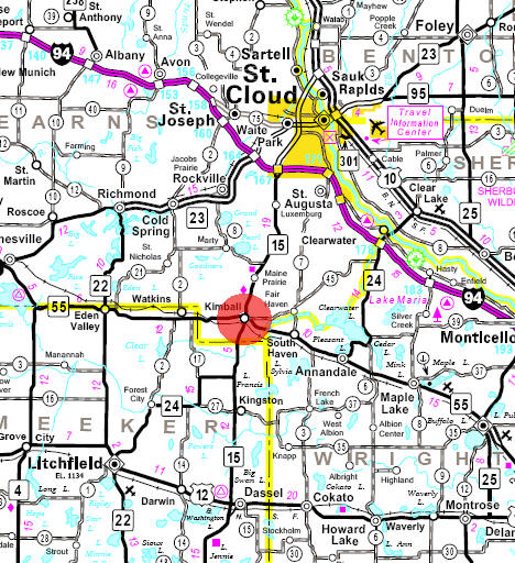 Minnesota State Highway Map of the Kimball Minnesota area