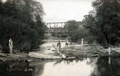 Crow River and Bridge, Kingston Minnesota, 1908