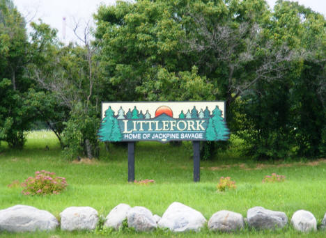 Littlefork, Home of Jackpine Savage sign, 2007