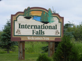 International Falls Minnesota Welcome Sign
