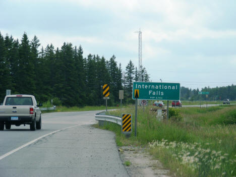 Entering International Falls from the east on Highway 11, 2007