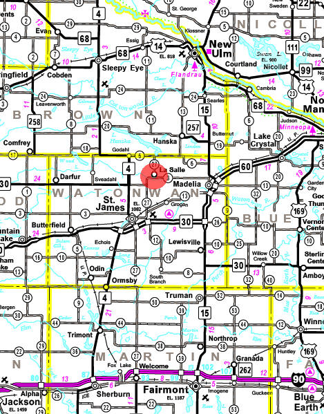 Minnesota State Highway Map of the La Salle Minnesota area