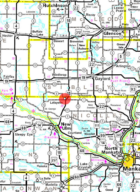 Minnesota State Highway Map of the Lafayette Minnesota area