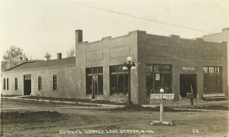 Sprink's Garage, Lake Benton Minnesota, 1920's