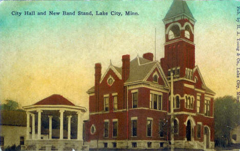 City Hall and New Band Stand, Lake City Minnesota, 1910's