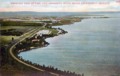 Birds eye view of the State Militia encampment and Lake City Minnesota, 1909