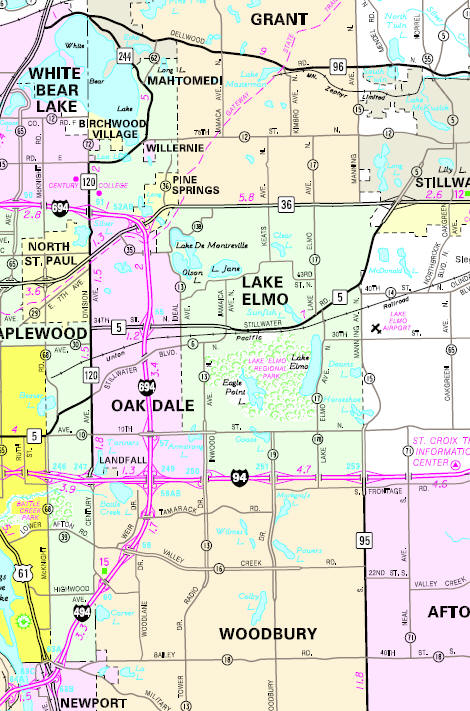 Minnesota State Highway Map of the Lake Elmo Minnesota area