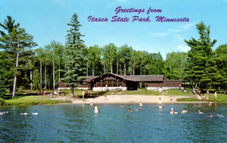 Bathing Beach and Bath Lodge, Itasca State Park, Minnesota, 1956