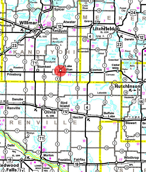 Minnesota State Highway Map of the Lake Lillian Minnesota area