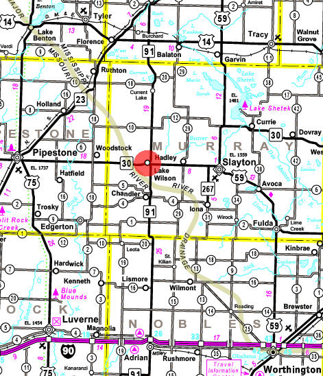 Minnesota State Highway Map of the Lake Wilson Minnesota area