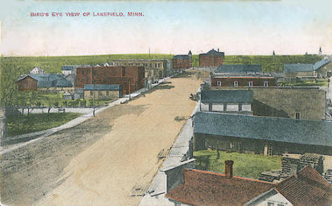 Bird's eye view of Lakefield Minnesota, 1908
