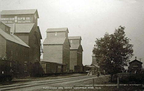Elevators and Depot, Lakefield Minnesota, 1911