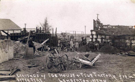 Tile Factory and Ice House Fire, Lamberton Minnesota, 1912