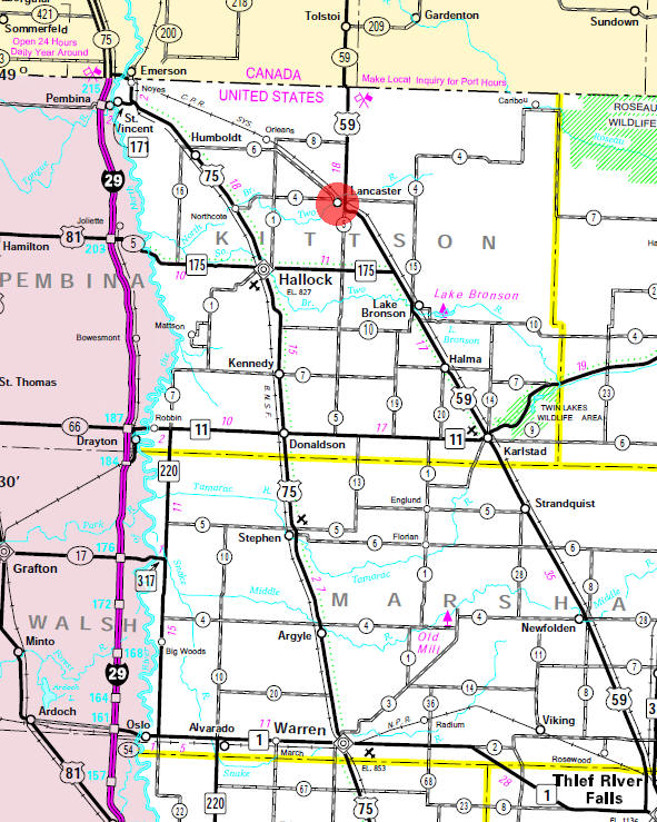 Minnesota State Highway Map of the Lancaster Minnesota area