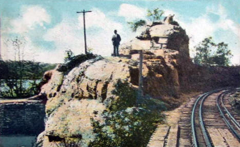 Railroad cut near dam, Lanesboro Minnesota, 1910
