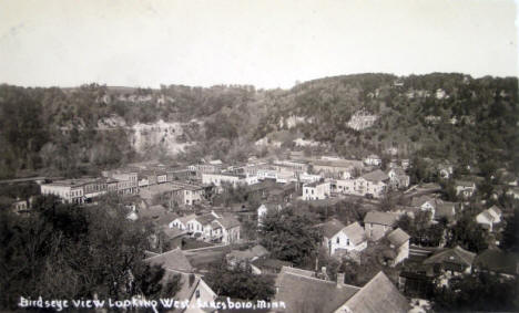 Birds eye view looking west, Lanesboro Minnesota, 1920's?