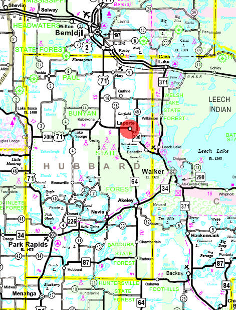 Minnesota State Highway Map of the Laporte Minnesota area
