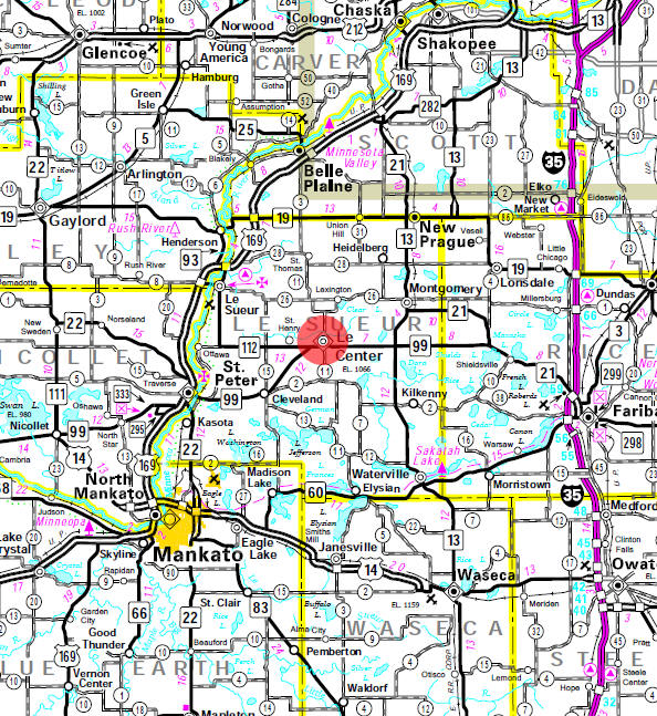 Minnesota State Highway Map of the Le Center Minnesota area