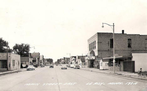 Main Street East, Le Roy Minnesota, 1950's