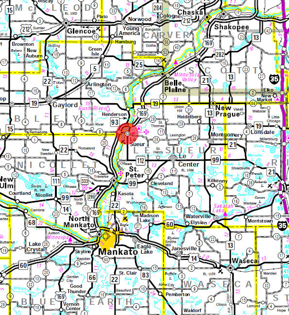 Minnesota State Highway Map of the Le Sueur Minnesota area