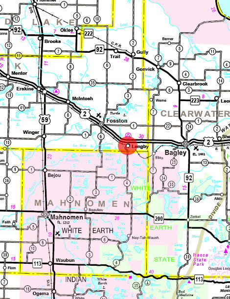 Minnesota State Highway Map of the Lengby Minnesota area