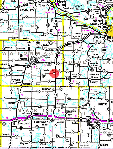Minnesota State Highway Map of the Lewisville Minnesota area
