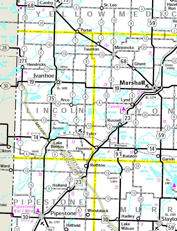 Minnesota State Highway Map of the Lincoln County Minnesota area