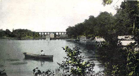 Railroad bridge at Lindstrom Minnesota, 1907