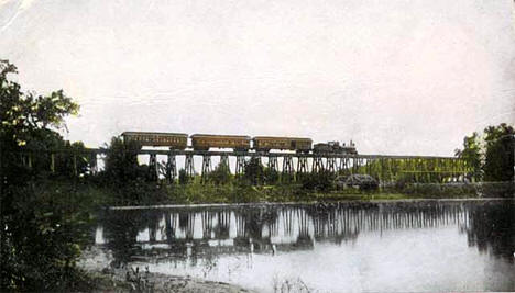 Northern Pacific Railroad bridge near Lindstrom Minnesota, 1907