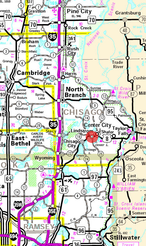 Minnesota State Highway Map of the Lindstrom Minnesota area