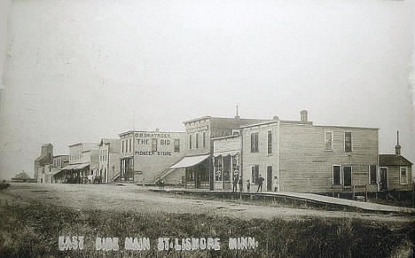 East side Main Street, Lismore Minnesota, 1908