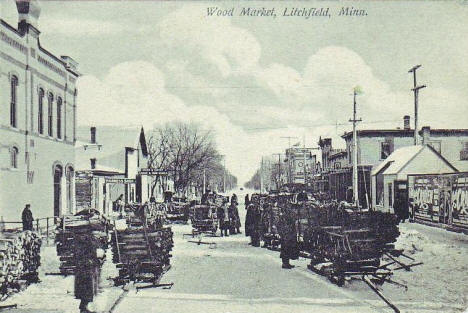 Wood Market, Litchfield Minnesota, 1908