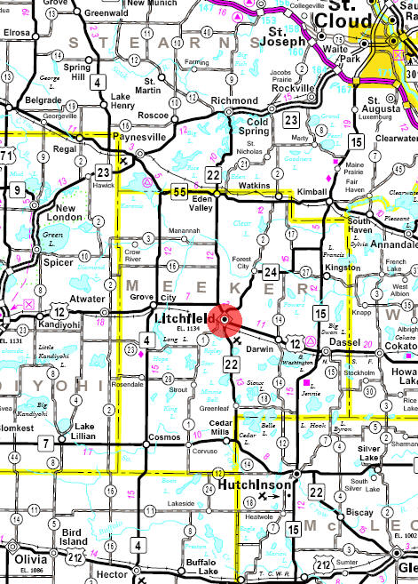 Minnesota State Highway Map of the Litchfield Minnesota area