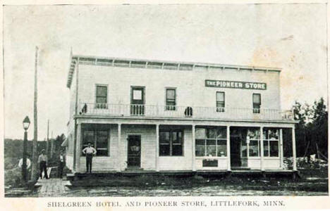 Shelgreen Hotel and Pioneer Store, Littlefork Minnesota, 1915