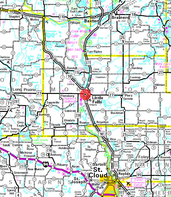 Minnesota State Highway Map of the Little FallsMinnesota area