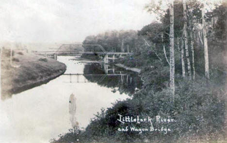 Littlefork River and Wagon Bridge, 1910's?