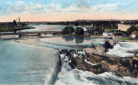 Bird's eye view of Little Falls, showing Mississippi River and dams, 1920