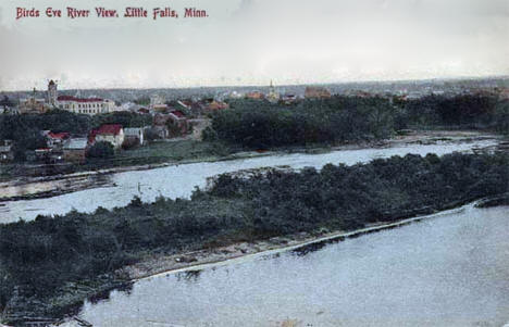 Birds-eye view of the river and Little Falls Minnesota, 1905